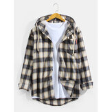 Mens Vintage Plaid Hooded Long Sleeve Shirts With Chest Pocket