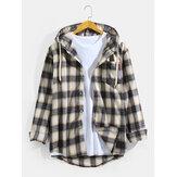 Hombre vendimia Camisas de manga larga con capucha a cuadros con bolsillo en el pecho