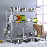 2-Tier Stainless Steel Over Sink Dish Drying Rack Holder