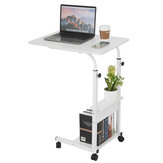 Movable Laptop Desk Adjustable Height Computer Notebook Desk Writing Study Table Bedside Tray with 2 Storage Shelves Home Office Furniture