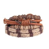 4pcs Men Retro Stretch Cowhide Bracelet Row Woven Wristband