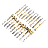 Drillpro 20Pcs Titanium Coated Rotary File Cutters HSS Mini Burr Wood Working Milling Carving Rasp Drill Bits