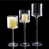 3pcs elegante Chá mesa de centro de festa de casamento de castiçais de vidro claro