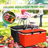 30L Folding Insulated Picnic Bag Storage Basket Bag Box Outdoor Picnic Food Bags