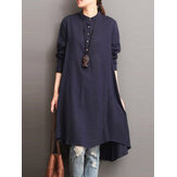 Mulheres Button Down Baggy Blusa Loose Asymmetric Dress