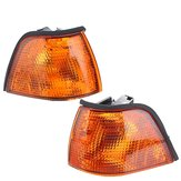 Pair Side Marker Lights Cover Amber for BMW E36 3-Series Coupe/Convertible 4D