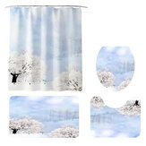 Shower Curtain Winter Landscape Paint Mat Decorative Waterproof Polyester Fabric Bathroom Curtain Set for Home Bath Decor