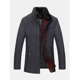 Mens Single Breasted Faux Fur Collar Thick Casual Woolen Trench Coats