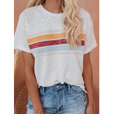 Rainbow Stripes Patchwork Round Neck Short Sleeve Daily Casual T-shirts For Women