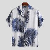 Herre Palm Leaf Trykt Summer Casual Vacation Hawaiian Shirt