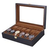 Reloj Bakeey de 12 ranuras Caja Reloj Pantalla Almacenamiento de joyas de madera Organizador