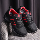 Women Mesh Splicing Suede Lace Up Sport Cushioned Sneakers