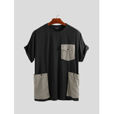 Big Pockets Stitching Kurzarm entspannte T-Shirts