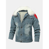 Mens Button Up Stone Washed Multi Pocket Fur Fluffy Collar Thick Casual Denim Jacket
