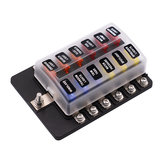 iMars ™ 12 Way Fuse Caixa 12V 32V Circuito Standard Blade Block Holder Kit Car Caravan