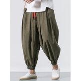 Erkekler Pamuklu Gevşek Rahat Baggy Vintage İpli Jogger Casual Harem Pantolon