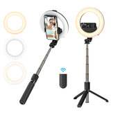 BlitzWolf® BW-BS8 Pro bluetooth Selfie Stick 5 inch Ring Light LED Fill Light Extendable Foldable Selfie Stick Tripod For Phone Sport Camera