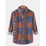 Erkek Etnik Tarzı Baskı Yaka Yaka Düğmesi Uzun Kollu Vintage Gömlek