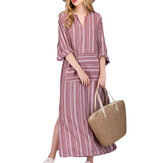 Women Casual Stripe V-neck Big Pocket Long Maxi Dress