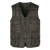 Mens Casual solto Fit V Neck Multi bolsos Vest
