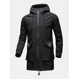Mens Zip Front Loose Mid-Length Waterproof Drawstring Hooded Outdoors Jackets