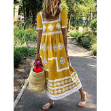 Women Ethnic Print Square Collar Short Sleeve Bohemian Maxi Dress