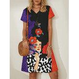 Dámské midi šaty s krátkým rukávem, výstřihem do V, výstřihem do V a velikostí Plus
