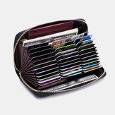 Femmes en cuir véritable RFID Organ Design Multi-card Slot Clutch Purse Long Wallet