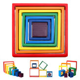 Square 7-piece 6.1 x 6.1 x 1.73inch Wooden Rainbow Stacking Toy nested stack games Building blocks