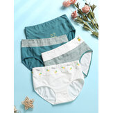 1Pcs Women Cotton Pinstripe Graphics Cozy Breathable High Waisted Panties