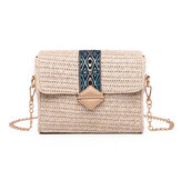 Women Summer Beach Straw Bag Bohemian Crossbody Messenger Shoulder Chain Bag