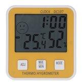 DC107大型デジタルLCD屋内温度湿度計温度計湿度計クロック時間
