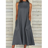 Solid Side Pockets Loose Large Size Casual Dress For Women
