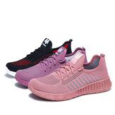 Women Color Block Mesh Lace Up Sport Casual Flat Shoes