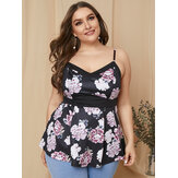 Plus Size Ethnic Style Floral Print V-neck Sleeveless Tank Top
