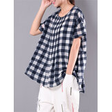 M-6XL Kadın Plaid Baggy Blouse