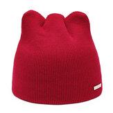 Women Girls Winter Cat Ears Knit Cap Earmuffs Warm Hat