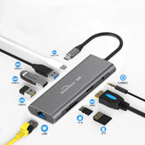 Blueendless 9 in 1 USB-C Hub Docking Station Adapter met 3 * USB 3.0 / 60W Type-C PD / 4K HD Display Video-uitgang / RJ45 Netwerkpoort / 3,5 mm Audio Jack / Geheugenkaartlezers