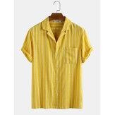 Camisas casuales de vacaciones 100% algodón con rayas en el pecho para hombres