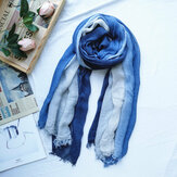 Women Cotton Gradient Color Natural Fold Silk Scar Casual Neck Protection Literary Style Scarf