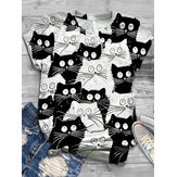 Funny Cartoon Cat Print Women Casual Round Neck Short Sleeve T-Shirts