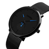 SKMEI 9185 Ultra Thin Simple Casual Style Mænd Armbåndsur Mesh Rustfrit Stål Strap Quartz Watch