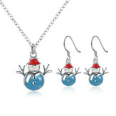 Christmas Snowman Necklace Enamel Process Earrings Gift Party Jewelry Set