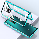 Bakeey for Xiaomi Redmi Note 9 / Redmi 10X 4G Case 2 in 1 with Lens Protector Magnetic Flip Double-Side Tempered Glass Metal Full Cover Protective Case Non-original
