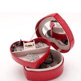 Boîtier en cuir PU forme de coeur collier bague boucles d'oreilles organisateur boîte