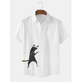Cotton Mens Funny Cartoon Katze Drucken Kurzarmhemden
