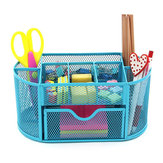 Honana HN-B26 Mesh Desk Organizer Oval Desktop Storage Box Pencil Stationary Holder