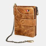 Carteira masculina Couro Genuíno RFID com zíper duplo retrô business casual estilo multi-pocket cor sólida com corrente