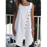 Women Casual Solid Button Sleeveless Loose Asymmetric Shirt Tank Tops