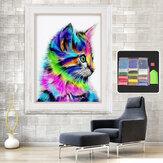 Kolorowy kot pełnych ćwiczeń DIY 5D Diament hafty Malowanie Rzemiosło Dekoracje domu